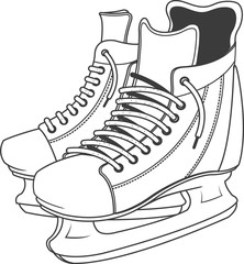 vector image of hockey skates.