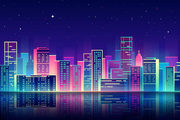 Vector night city with neon glow illustration.