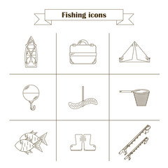 Line fishing icons