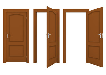 Open brown door isolated on a white background