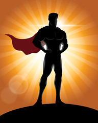 Superhero Standing with Pride and Confident Silhouette