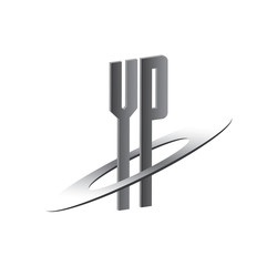 YP initial logo with silver sphere