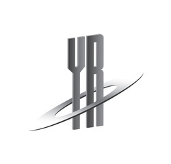 YR initial logo with silver sphere