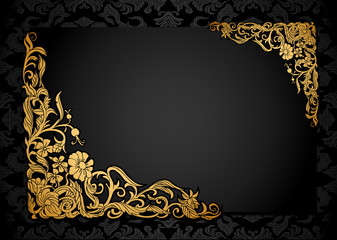 Floral background with luxury black and gold vintage frame