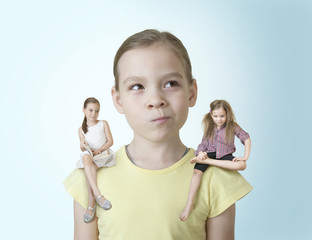 Little girl makes a choice between two of his characters