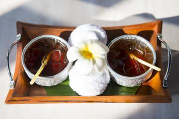 longan juice in a silver bowl