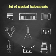 CHALK style music icons set. Children's toys collection of vector icons. Outline vector drum, pipe, flute, piano, keys, maracas, harmonica and other musical instrument