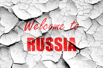 Grunge cracked Welcome to russia