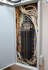 Breaker box with  tangled cable