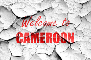 Grunge cracked Welcome to cameroon