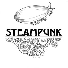 Steampunk label with industrial machines gears chains and technical elements,  hand drawn illustration
