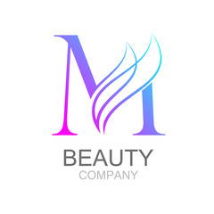 Abstract letter M logo design template with beauty industry and fashion logo.cosmetics business, natural,spa salons. yoga, medicine companies and clinics