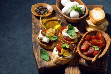 Italian appetizers - various bruschettas