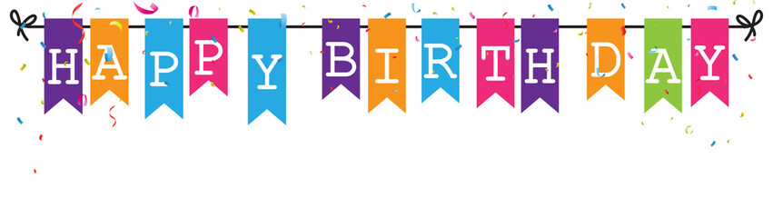 bunting flags banner with happy birthday letter