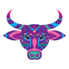 Colorful bull face. Vector illustration.