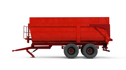 Agricultural Trailer isolated on white background