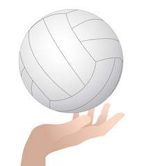 volleyball held by hand, vector illustration