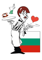 waiter with flag of bulgaria
