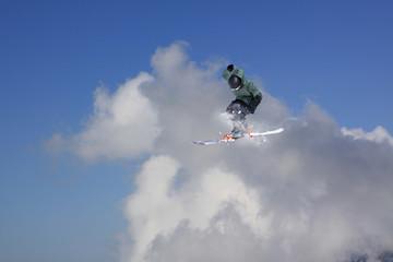 Ski jump on mountains. Extreme winter sport.
