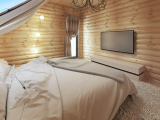 TV unit in a modern bedroom interior in a log.