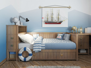 Baby bed for a young teenager in a ship style with a lifeline an
