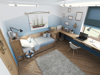 Modern children's room for a teenager in a nautical style with f