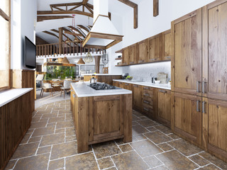 The large kitchen in the loft style with an island in the middle