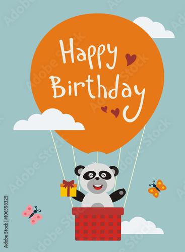 Happy Birthday Funny Panda Bear Flying On Balloon With Birthday
