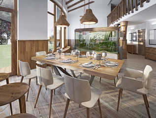 Served table for eight in the dining room in the loft with high
