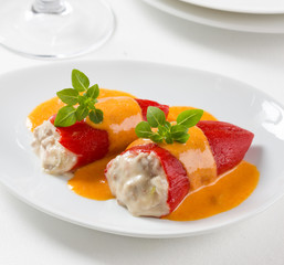 Stuffed red piquillo peppers, Spanish gastronomy