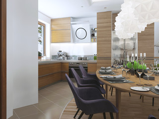 dining kitchen design in a modern style with a dining table and