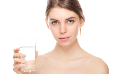 portrait of attractive  woman isolated on white studio shot with glass of water