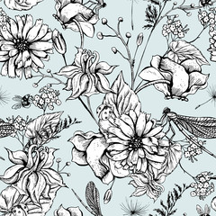 Vintage garden flowers vector seamless pattern