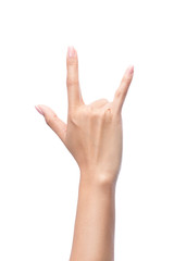 Hand in I love you,Love hand sign,hand language, Isolated on white with clipping path