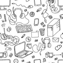 copmuter, gadget, phones seamless vector pattern