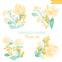 A set of watercolor flowers and leaf. Vector collection with leaves and flowers, hand drawing. Can be used for design for invitation, wedding or greeting cards