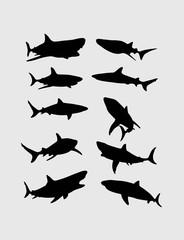 Shark Silhouettes, art vector design