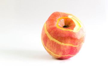 lean side of red apple peel on white background