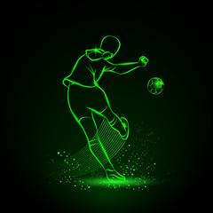 Soccer player kicks the ball. Back view. Vector sport neon illustration.