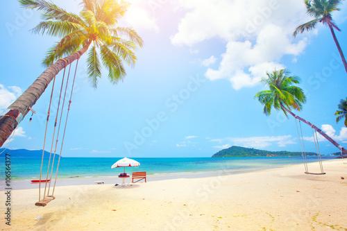 берег пальма море солнце пляж  № 3779824  скачать
