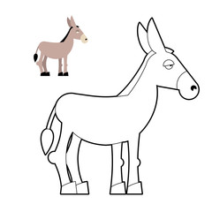 Donkey coloring book. Circuit animal. Childrens coloring book wi