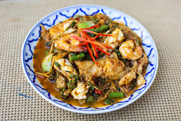 stir fried spicy seafood with herbs