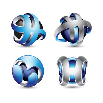 Letter H 3D Sphere Logo Design Elements