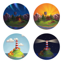 Four round illustration icon with different places you can call home: lighthouse on island and wooden hut in mountains at day and at night on white isolated background