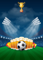 Football Sport Poster with Soccer Ball and Beer Glasses in Spotlights on Stadium. Soccer Cup Advertising. Sport Event Announcement. Place your Text and Emblem of Participants. Vector Illustration.