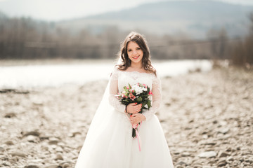 Girl, model, bride on a background of the river and mountains. Beauty portrait