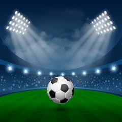 Football Sport Poster with Flying Soccer Ball in Spotlights on Stadium. Realistic Vector Illustration.