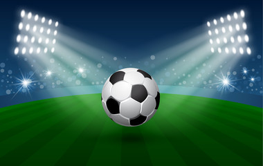 Football Sport Poster with Flying Soccer Ball in Spotlights on Stadium. Realistic Vector Illustration.