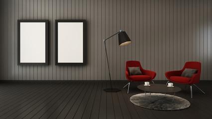 Simple livingroom for mock up interior - 3D render