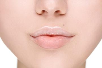 Beautiful Perfect Lips. Sexy Mouth close up.